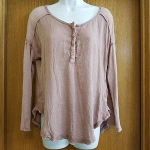 We The Free Mauvy Pink Button Shirt S